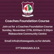 Coaches Foundation Course – November 27th